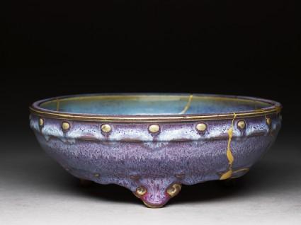 Bulb bowl with purple and blue glazesoblique
