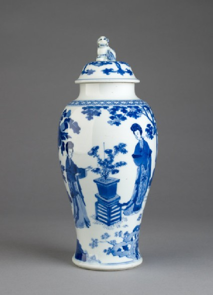 Blue-and-white jar and lid with female figures in a garden landscapeside