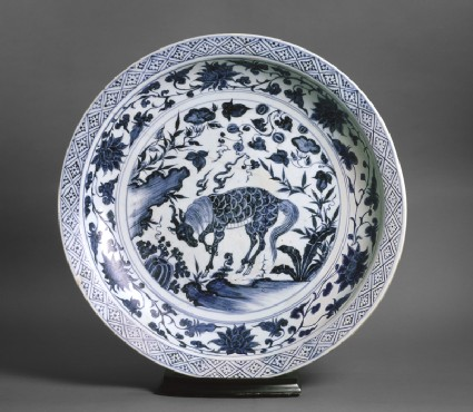 Blue-and-white dish with a kylin, or horned creaturetop