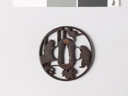 Round tsuba depicting Sōsan, a Paragon of Filial Virtue, and his motherfront