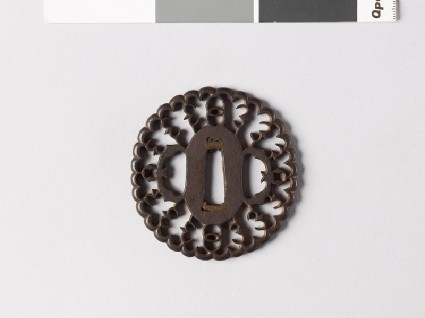 Tsuba in the form of a flower with myōga, or ginger shoots, and karigane, or flying geesefront