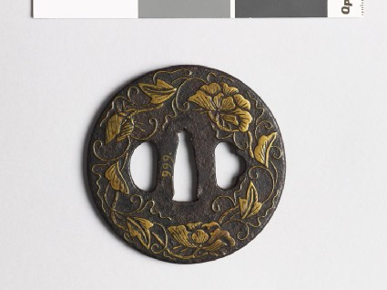 Tsuba with flowers and tendrilsfront