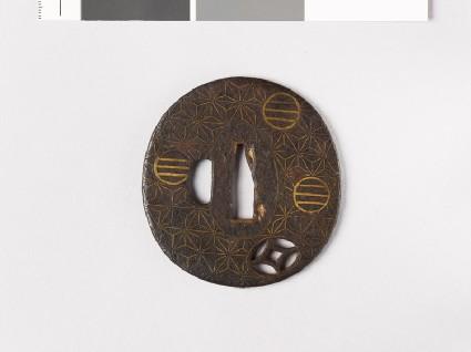 Tsuba with asanoha, or stylized hemp leavesfront