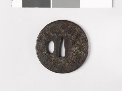 Round tsuba with swastikasfront