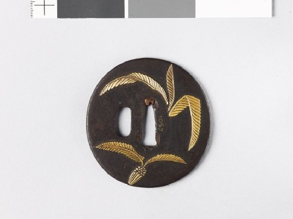 Tsuba with cycad leaves and a radishfront
