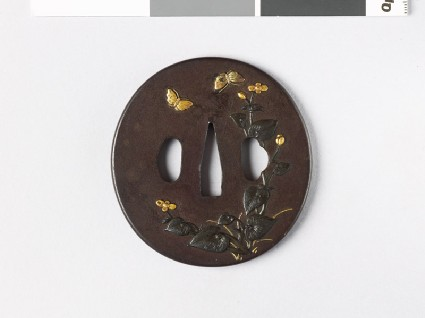 Tsuba with begonia plant and butterfliesfront