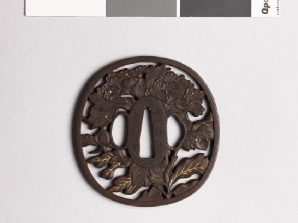 Tsuba with peony plant and dewdropsfront