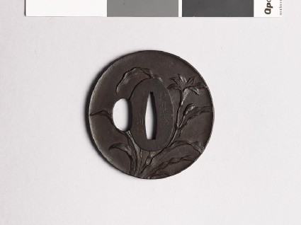 Tsuba with tiger lily plantfront