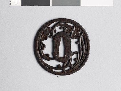 Tsuba with liliaceous plant and dewdropsfront