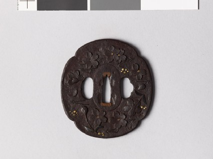 Mokkō-shaped tsuba with cherry blossoms, pine needles, and dewdropsfront