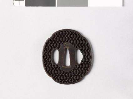 Mokkō-shaped tsuba with ajiro, or netting patternfront