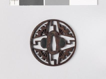 Tsuba with ware-ōgi, or broken folding fansfront