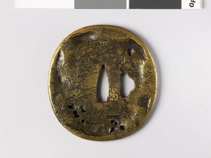 Tsuba with plants and landscape scenefront