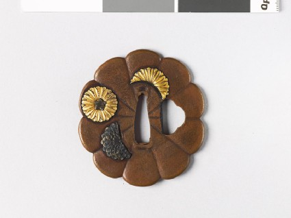 Tsuba in the form of a flower and with chrysanthemumsfront
