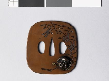 Tsuba depicting a sakaki branch with gohei, or papercut pendantsfront