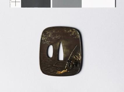 Aori-shaped tsuba depicting the fisherman Urashimatarō with a minogame, or sacred tortoisefront
