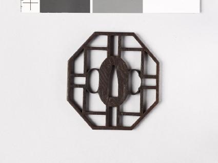 Octagonal tsuba with openworkfront