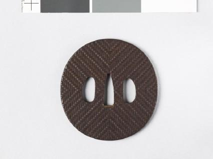 Tsuba with basket plait designfront