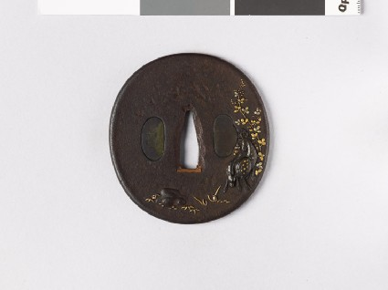 Tsuba with deer and a lespedeza bushfront