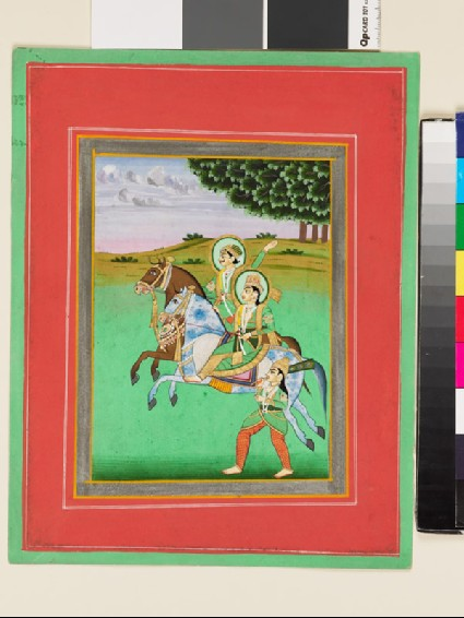 Man and woman riding, possibly Baz Bahadur and Rupmatifront
