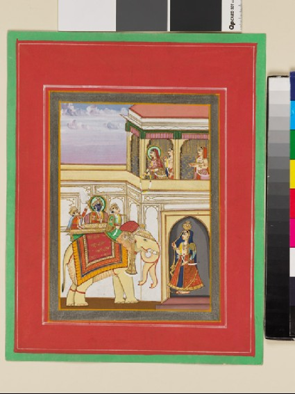Rama on an elephant, with Sita and two women in a balcony abovefront