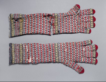 Pair of long knitted glovesside