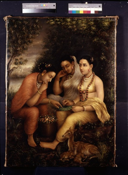Shakuntala writing a love letter on a lotus leaffront