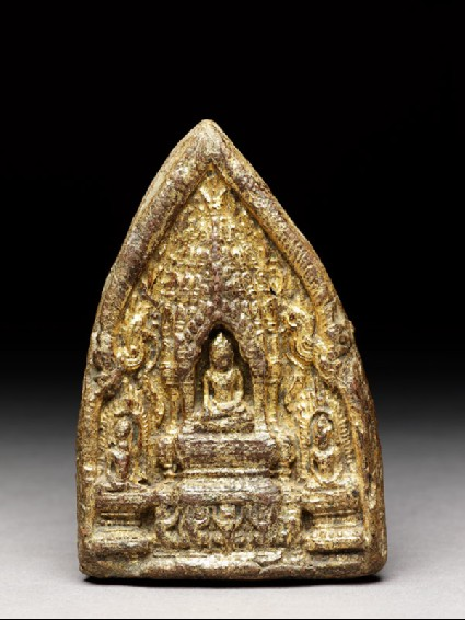 Votive plaque of the Buddha seated on thronefront
