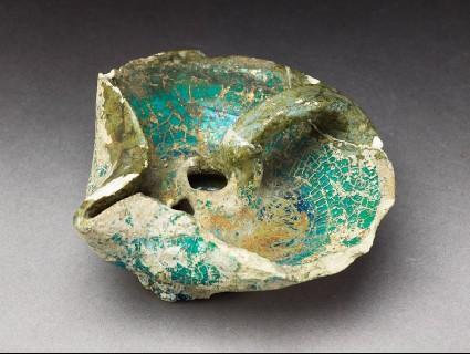 Oil lamp with turquoise glazeoblique