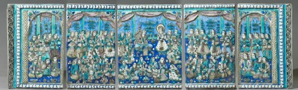 Set of five tiles depicting Yusuf appearing before the women of Memphisfront