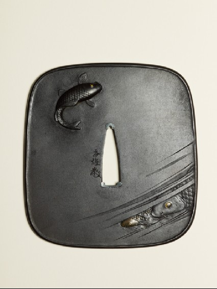 Tsuba with swimming carpfront
