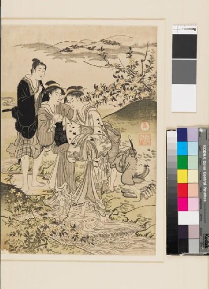 Samurai watching women paddling in the Jewel River of Idefront
