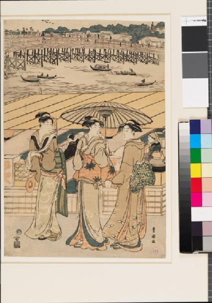 Three women in front of Ryōgoku bridgefront