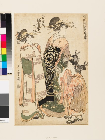 The courtesan Madoka of the Tamaya Brothel with two attendantsfront