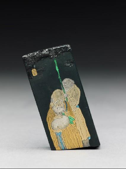 Used ink stick depicting Shou Lao, the god of longevityfront