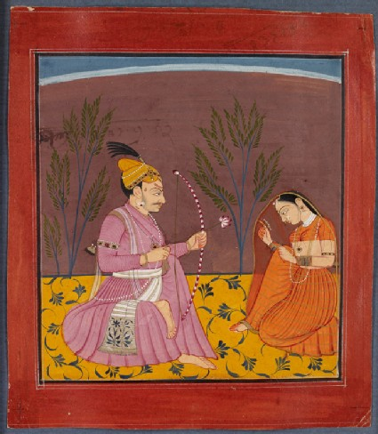 A prince and a lady, illustrating the musical mode Kusuma Ragafront