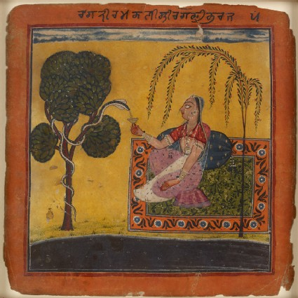 A lady offers milk to a snake, illustrating the musical mode Ramakali Raginifront