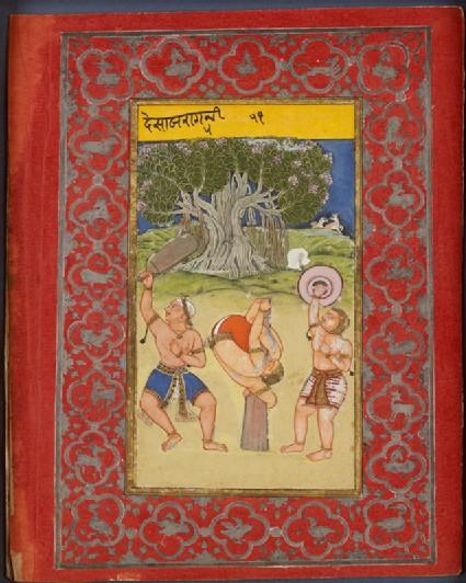 Wrestlers exercising, illustrating the musical mode Deshakh Raginifront