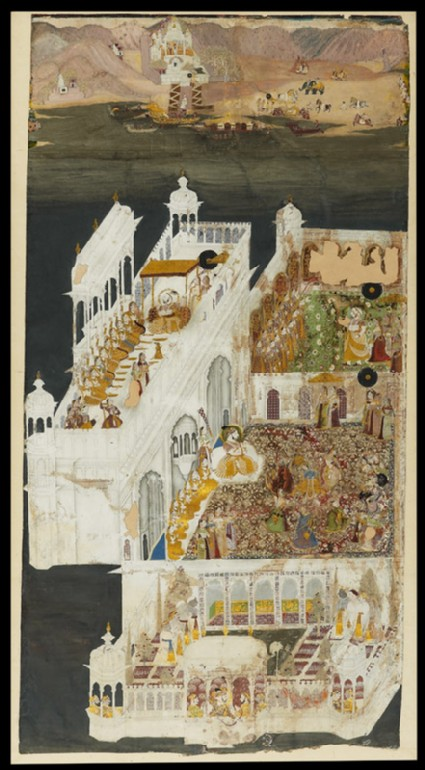 Maharana Jagat Singh and his queens at Jagniwasfront