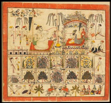 Maharaja Raj Singh of Sawar receives a yogi in a gardenfront