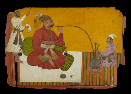 Maharaja Kirpal Pal of Basohli smoking a hookahfront
