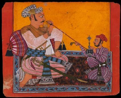 Maharaja Bhupat Pal smoking a hookahfront