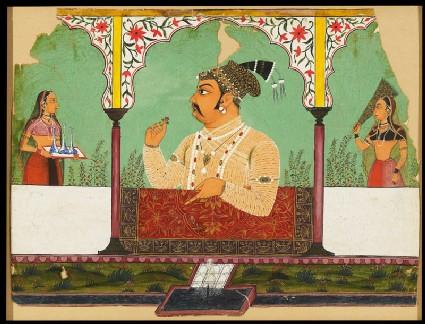 Maharaja Raj Singh of Sawar in a garden arcadefront