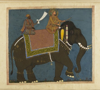 Sultan Muhammad Adil Shah and Ikhlas Khan riding an Elephantfront