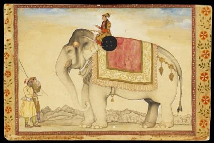 The elephant Ganesh Gaj and riderfront