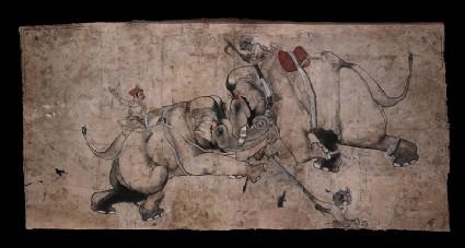 Elephants fightingfront