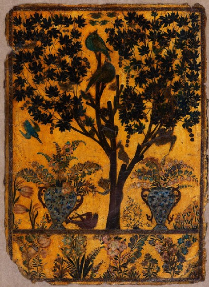 Book cover with tree, birds, and insectsfront