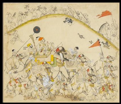 Maharaja Raj Singh of Sawar and his elephantsfront