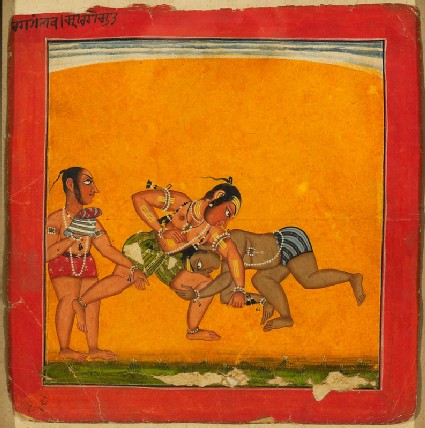 Wrestlers, illustrating the musical mode Raga Malavafront