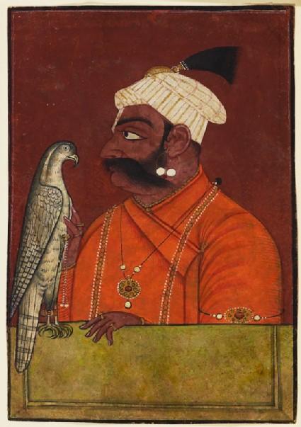 Maharaja Suraj Mal with a hawkfront